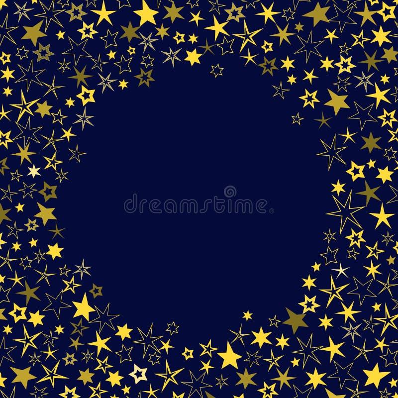Fond bleu-foncé de vecteur avec les étoiles jaunes et d'or illustration stock