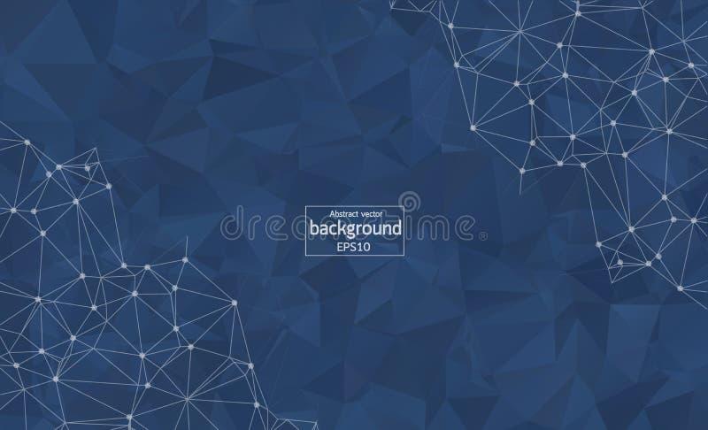Fond bleu-foncé polygonal de résumé avec les points et les lignes reliés, structure de connexion, fond futuriste de hud, défectuo illustration libre de droits