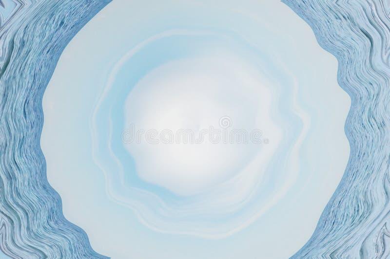 Fond bleu géométrique circulaire de l'eau en cercle autour de forme colorée illustration de vecteur