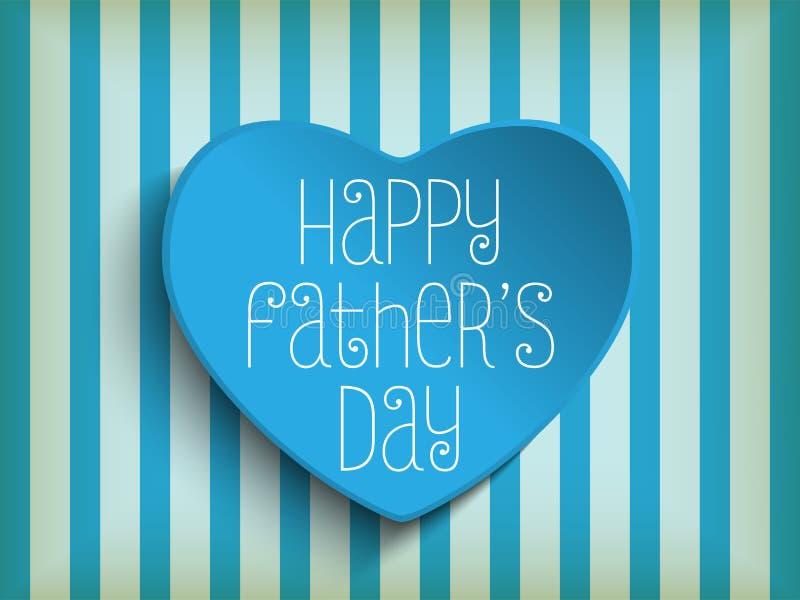 Fond bleu heureux de coeur de jour de pères illustration stock