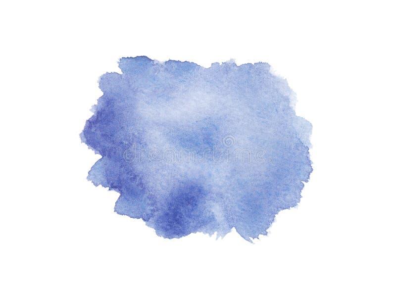 Fond bleu humide d'aquarelle avec des taches Course de brosse d'isolement sur le fond blanc illustration de vecteur