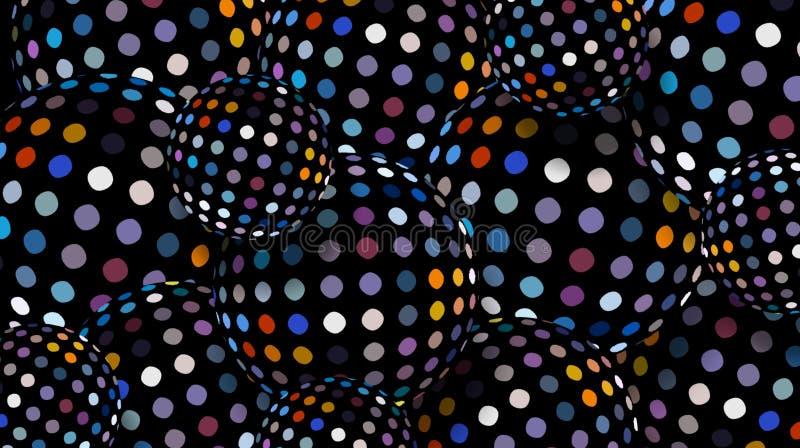 fond bleu jaune de décoration de points de polka de mosaïque de sphères du noir 3d Papier peint abstrait géométrique créatif illustration de vecteur
