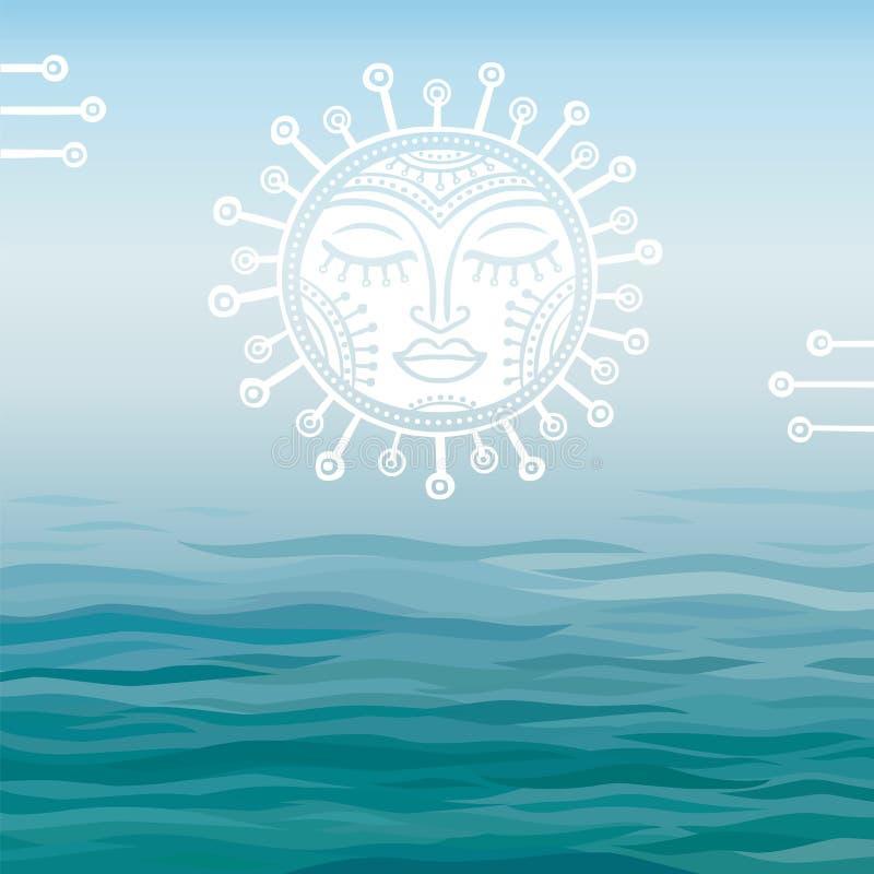 Fond bleu la mer avec un symbole du soleil illustration de vecteur