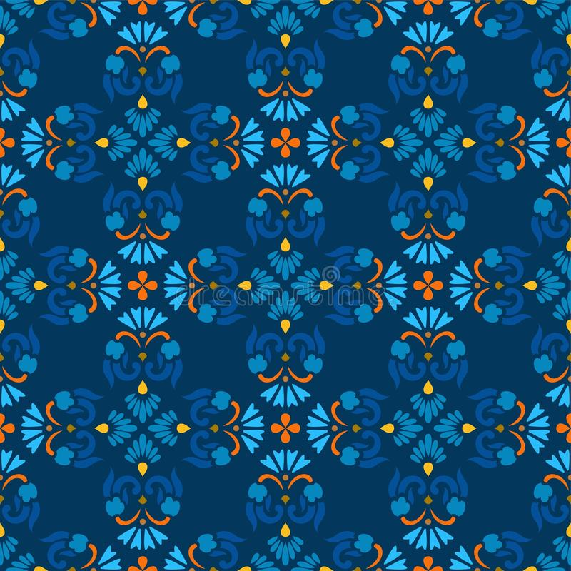 Fond, bleu, modèle sans couture avec les fleurs bleues et branches oranges illustration stock