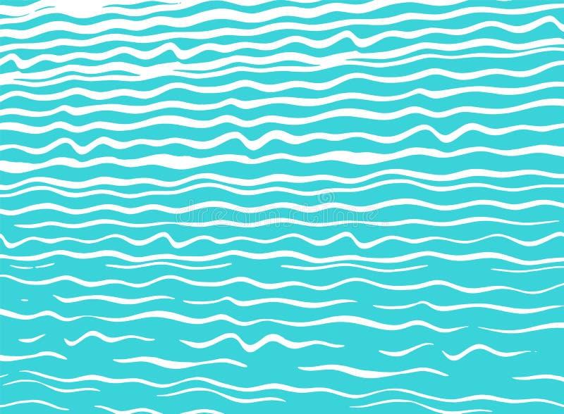 Fond bleu moderne de mer avec les vagues tir?es par la main illustration libre de droits