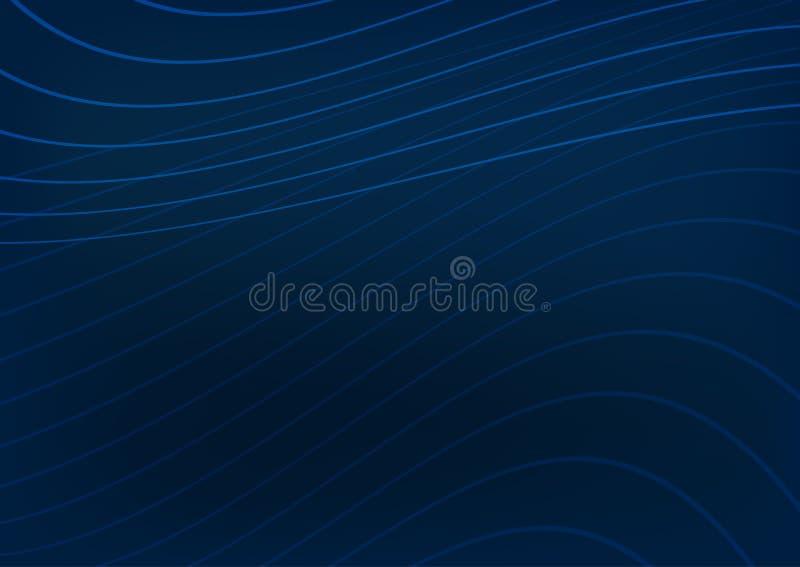 Fond bleu rectangulaire avec les lignes incurvées Calibre horizontal pour la conception illustration libre de droits