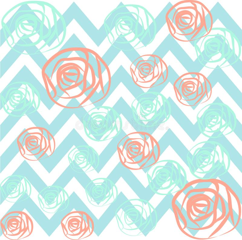 Fond bleu rose de très bon goût de roses de Chevron illustration stock