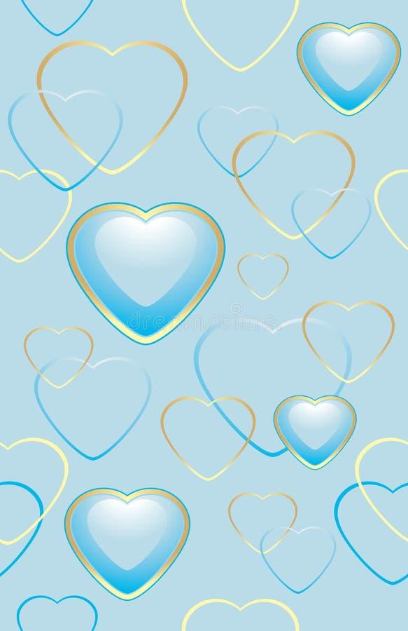 Fond bleu sans couture avec des coeurs pour l'emballage illustration stock