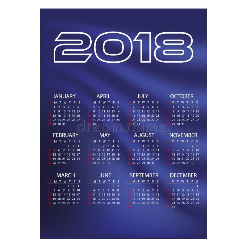 fond bleu simple eps10 d'abrégé sur couleur de calendrier mural des affaires 2018 illustration libre de droits