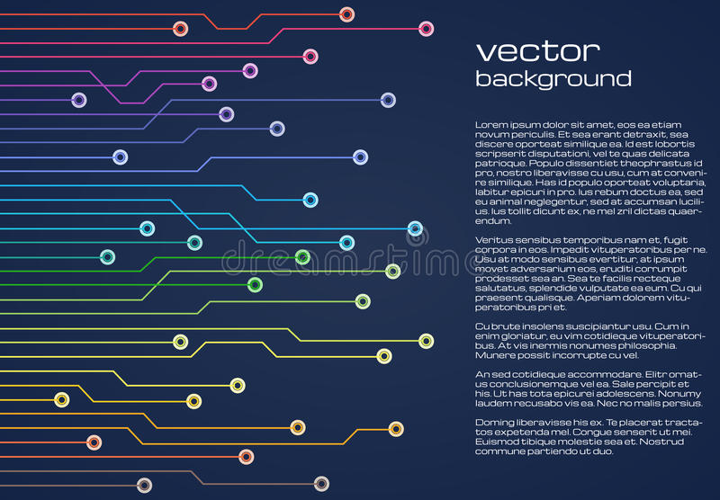 Fond bleu technologique abstrait avec les éléments colorés de la puce Texture de fond de carte illustration stock