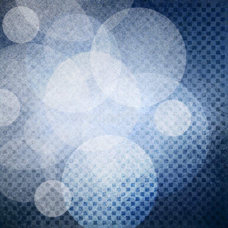 Fond bleu texturisé avec de macro rangées minuscules des places de bloc et des couches blanches de cercle illustration stock