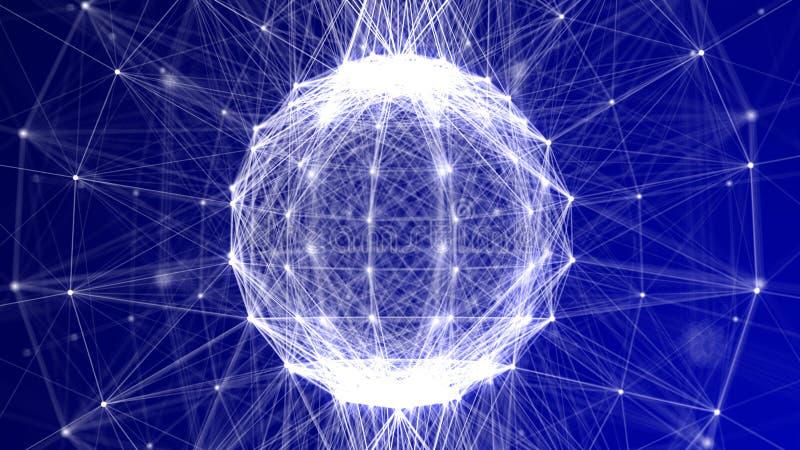 Fond bleu v2 de technologie de Fil-cadre de sphère de plexus illustration de vecteur