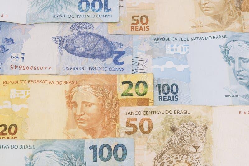Fond brésilien d'argent Les factures ont appelé Real image libre de droits