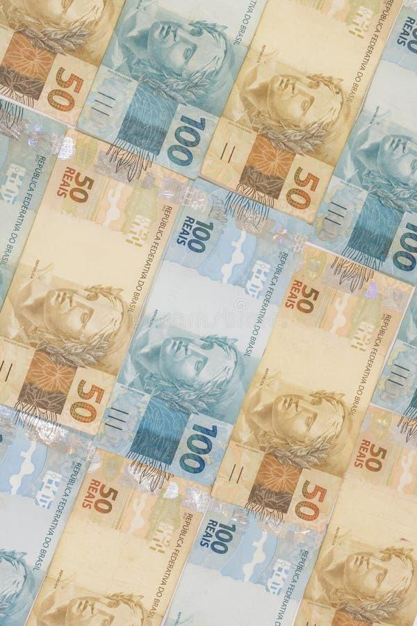 Fond brésilien d'argent Les factures ont appelé Real image stock