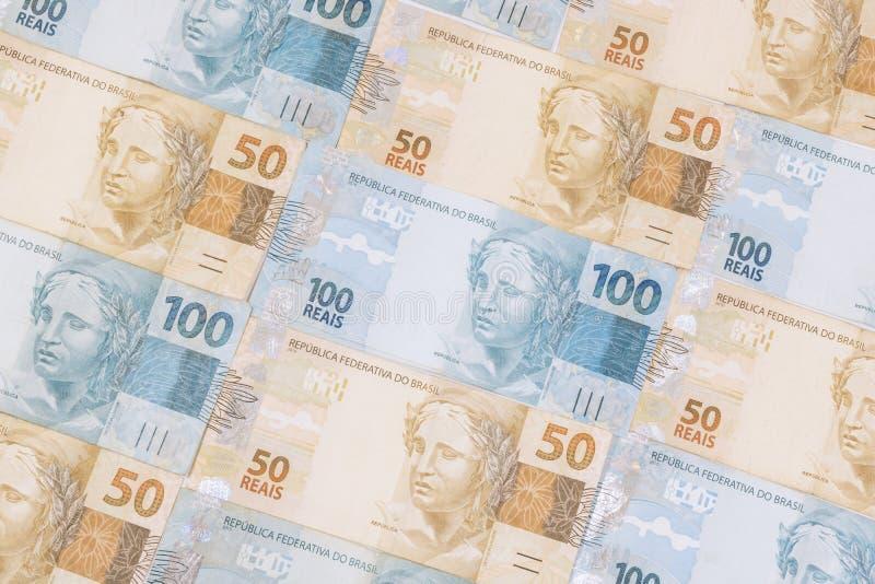 Fond brésilien d'argent Les factures ont appelé Real photographie stock
