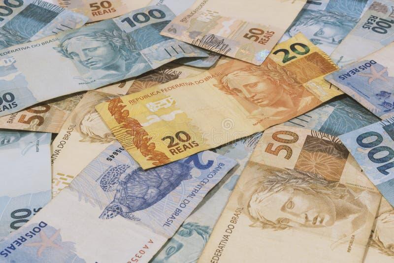Fond brésilien d'argent Les factures ont appelé Real photographie stock libre de droits