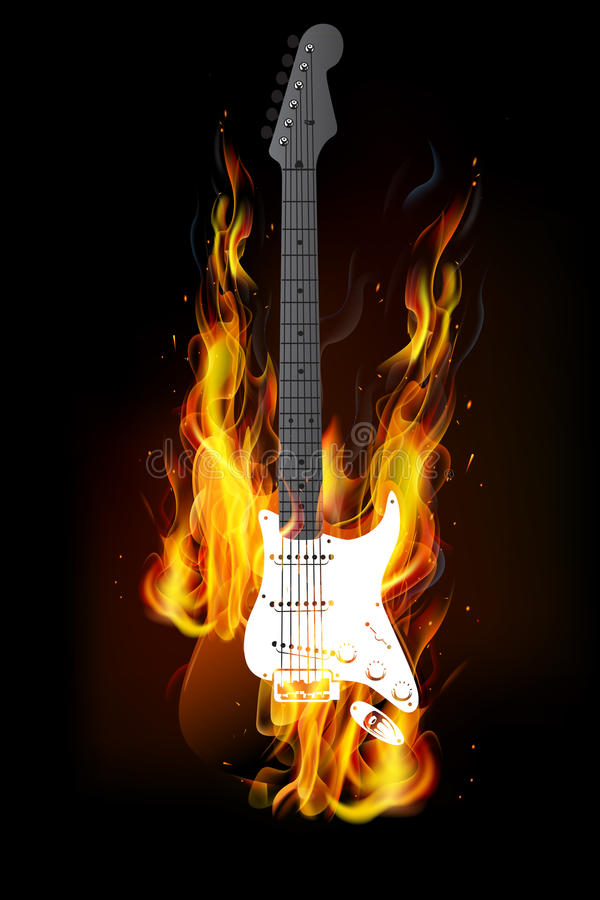 Fond brûlant du feu de guitare illustration libre de droits