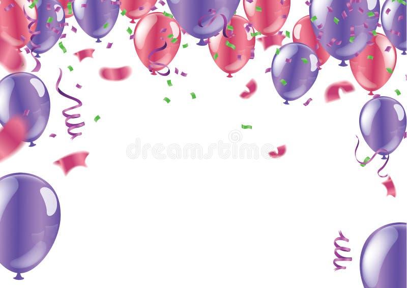 Fond brillant abstrait de partie avec des confettis et des flammes illustration libre de droits