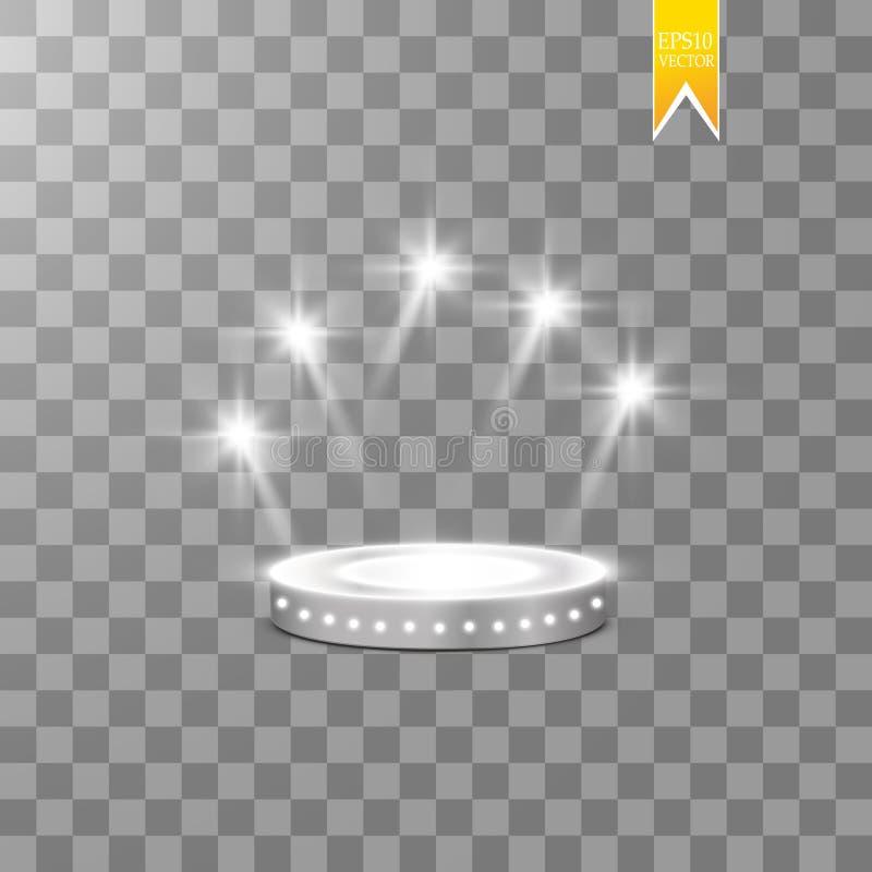Fond brillant abstrait de podium avec des projecteurs Scène éclatante blanche Vous gagnez le luxe, le succès et la conception de  illustration stock