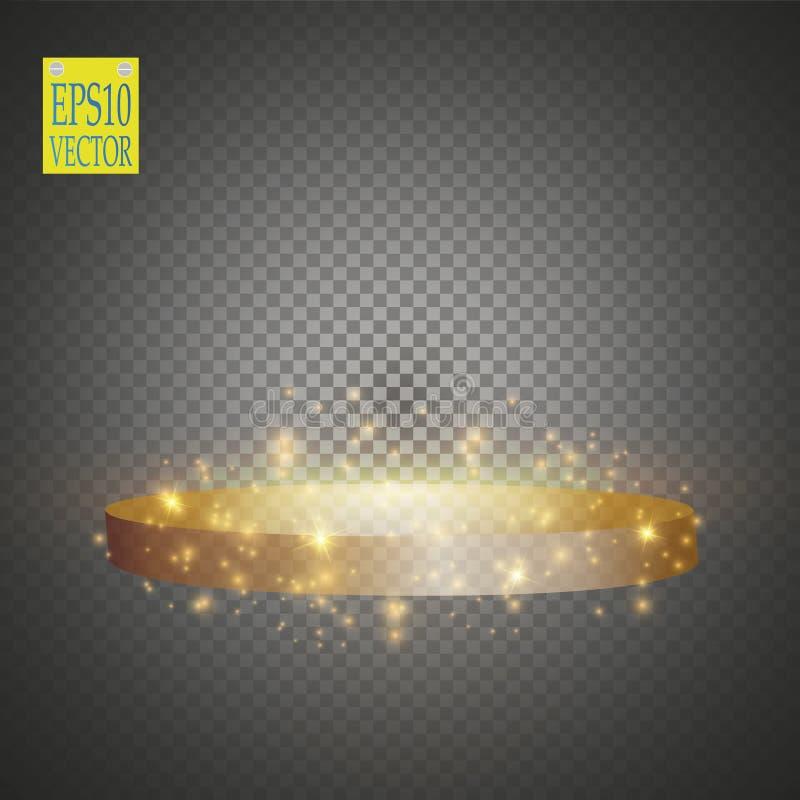 Fond brillant abstrait de podium avec des projecteurs Scène éclatante d'or Vous gagnez le luxe, le succès et la conception de tré illustration stock