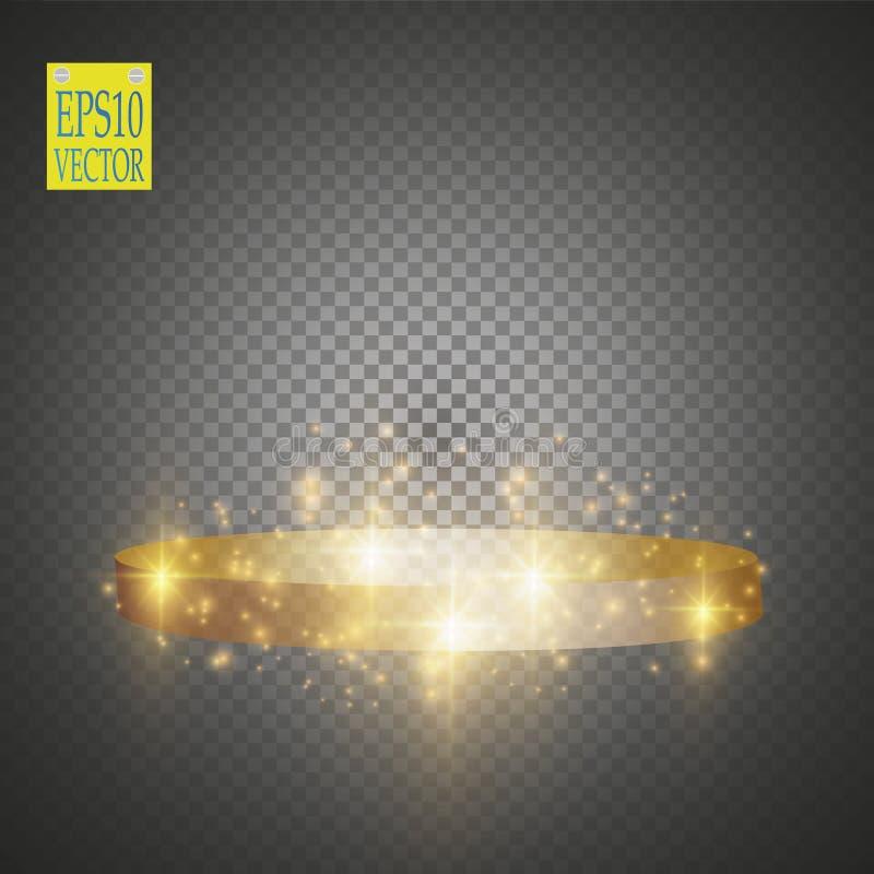 Fond brillant abstrait de podium avec des projecteurs Scène éclatante d'or Vous gagnez le luxe, le succès et la conception de tré illustration de vecteur