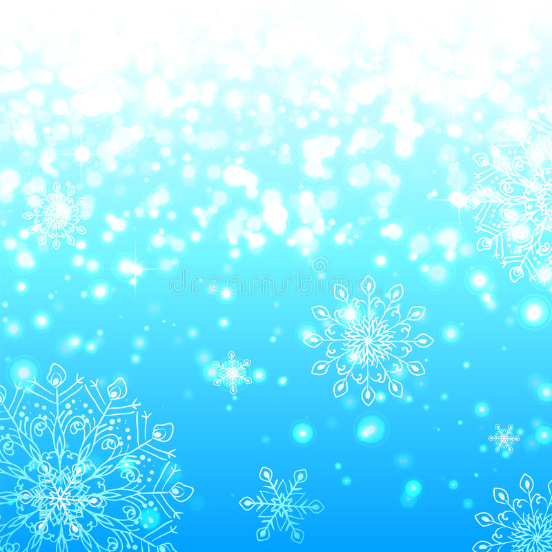Fond brillant bleu de Noël de flocons de neige illustration libre de droits