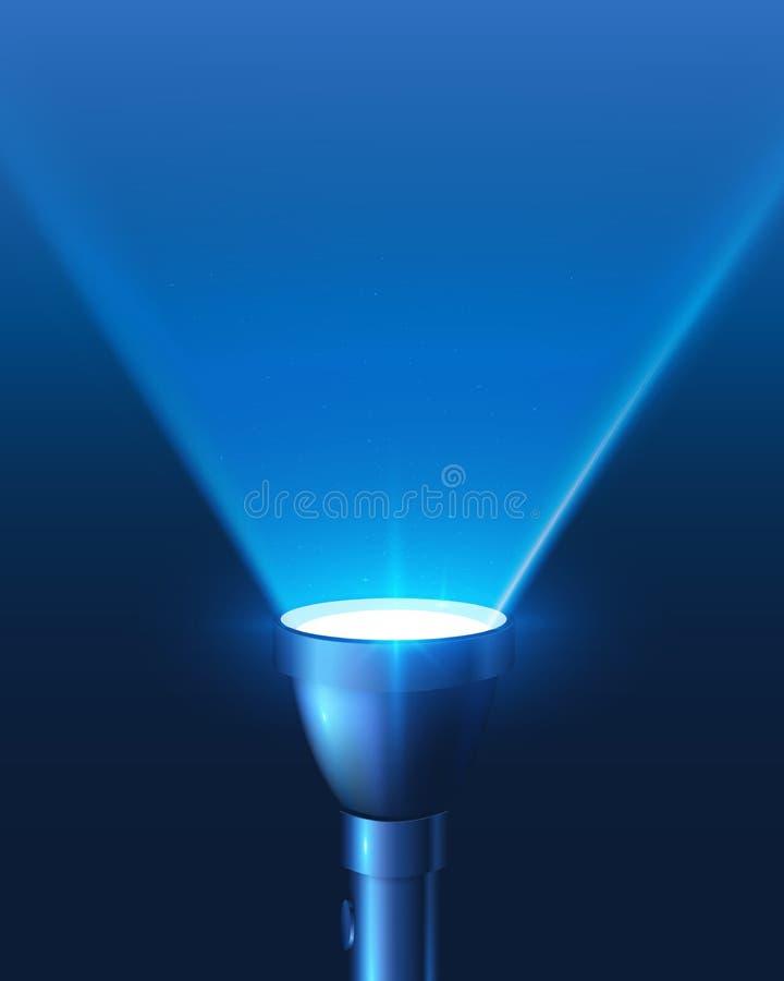 Fond brillant bleu de vecteur de lumière de lampe-torche illustration de vecteur