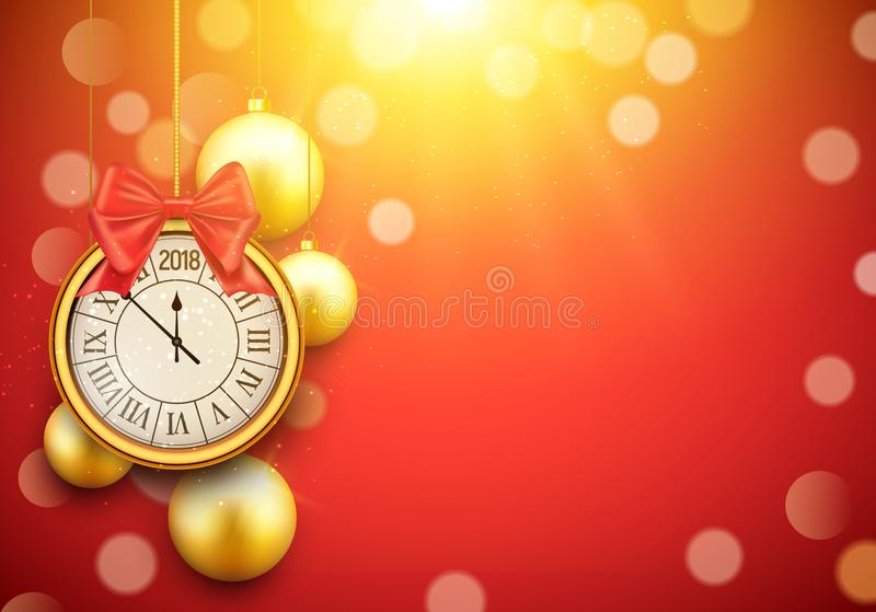 Fond brillant de la nouvelle année 2018 avec l'horloge Affiche 2018, calibre d'or de boules de décoration de célébration de bonne illustration stock