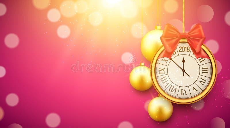Fond brillant de la nouvelle année 2018 avec l'horloge Affiche 2018, calibre d'or de boules de décoration de célébration de bonne illustration de vecteur
