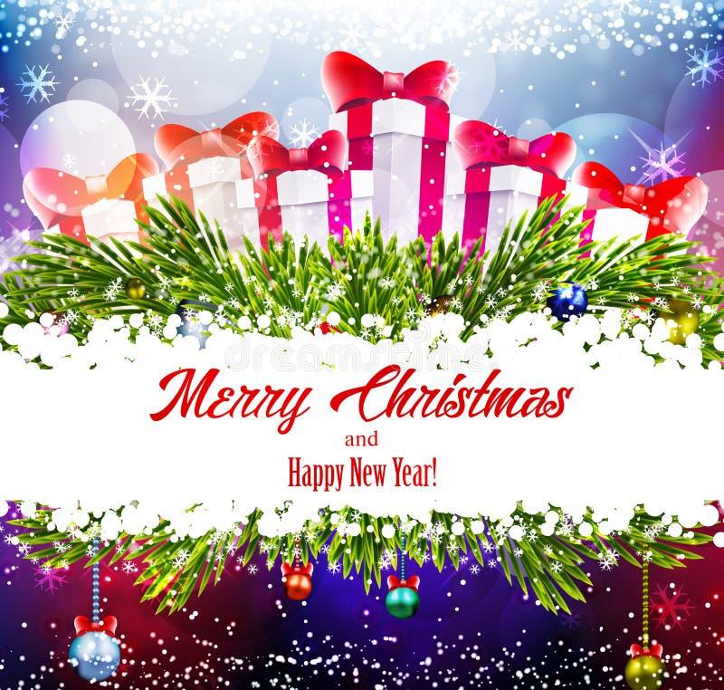 Fond brillant de Noël avec des cadeaux illustration de vecteur