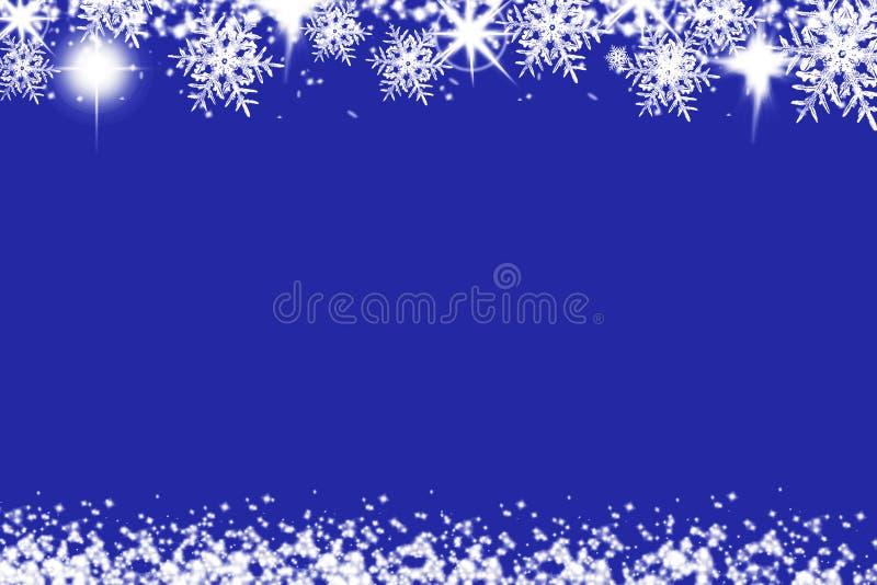 Fond brillant de Noël avec des flocons de neige et endroit pour le texte Fond bleu de vacances avec l'espace de copie image stock