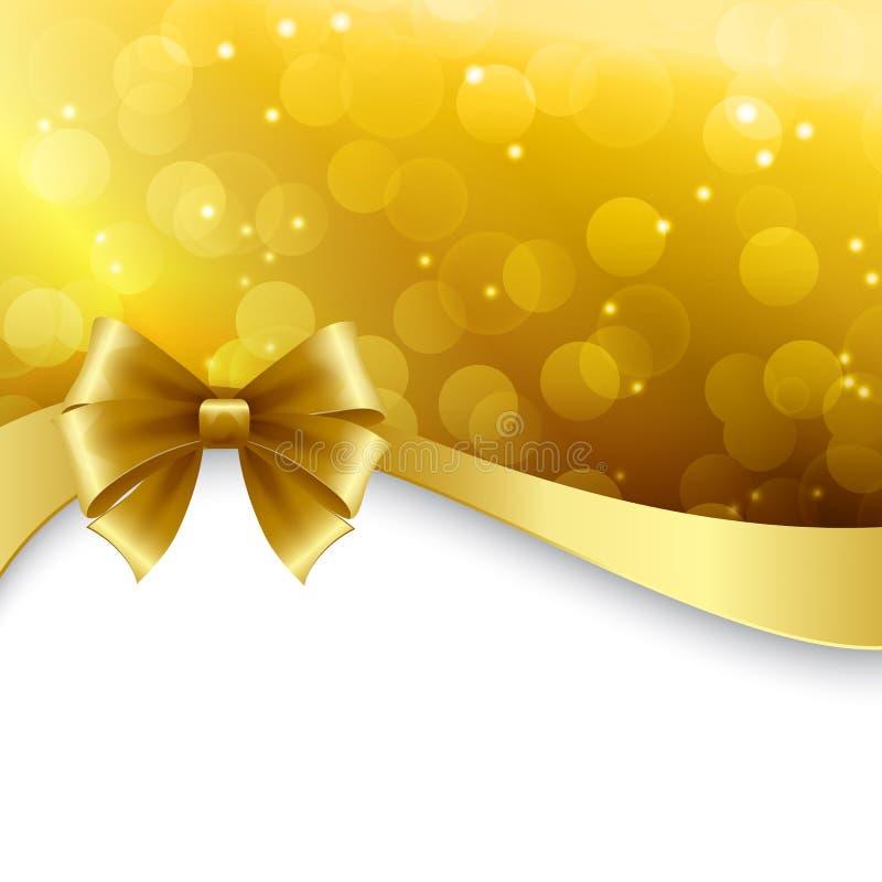 Fond brillant de vacances avec l'arc d'or Noël illustration de vecteur