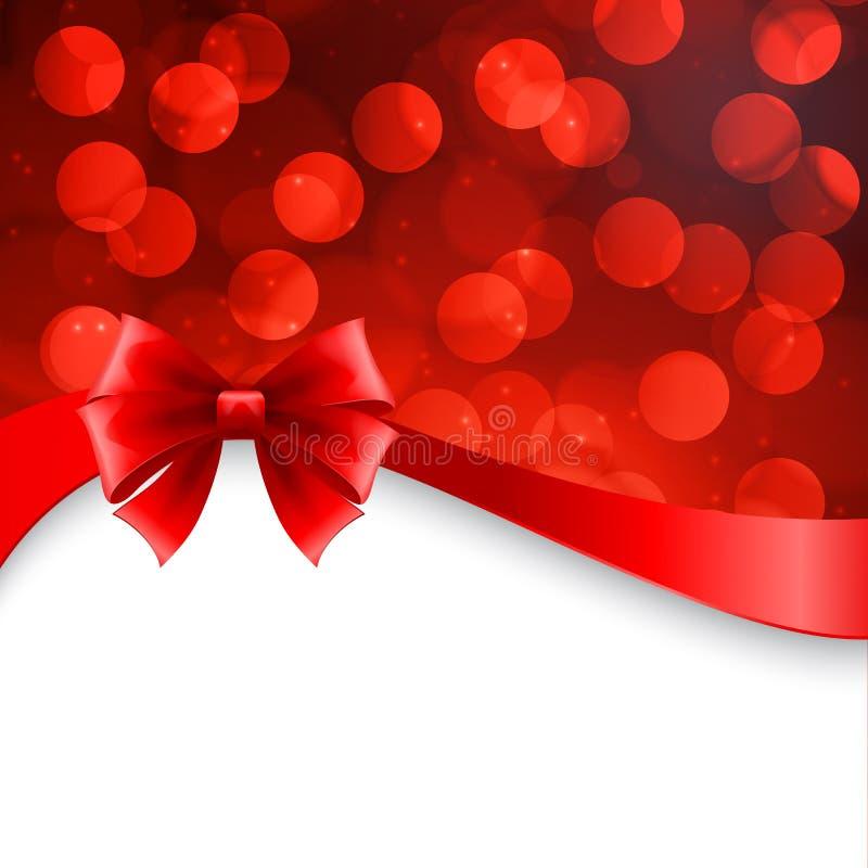 Fond brillant de vacances avec l'arc rouge Noël illustration libre de droits