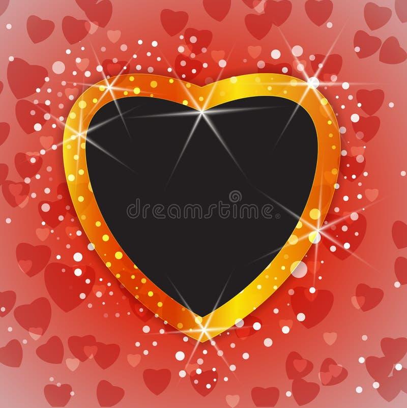 Fond brillant de Valentine ou de mariage avec le cadre vide de photo illustration libre de droits