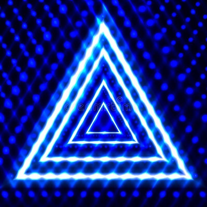 Fond brillant de vecteur, triangles, rougeoyant dans les lignes foncées, néon illustration de vecteur