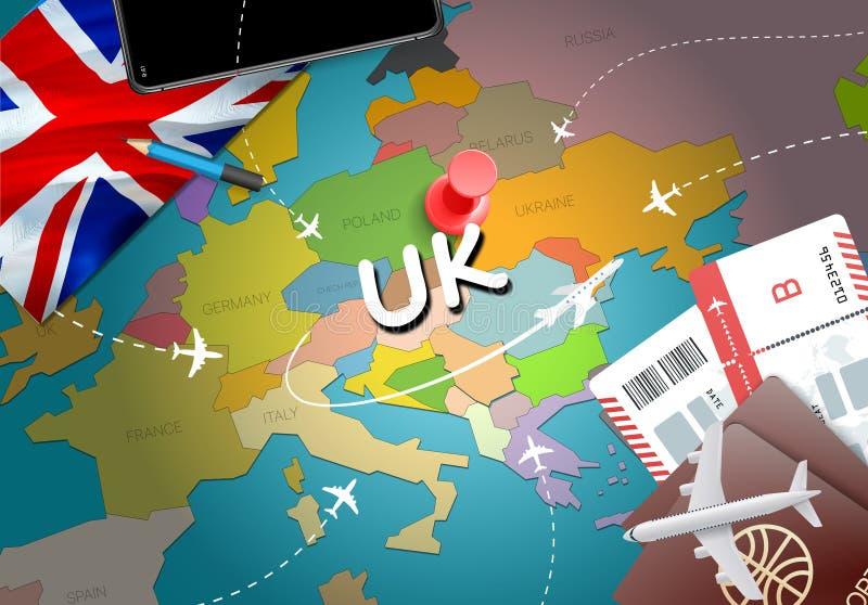 Fond BRITANNIQUE de carte de concept de voyage avec des avions, billets Visite R-U t illustration stock