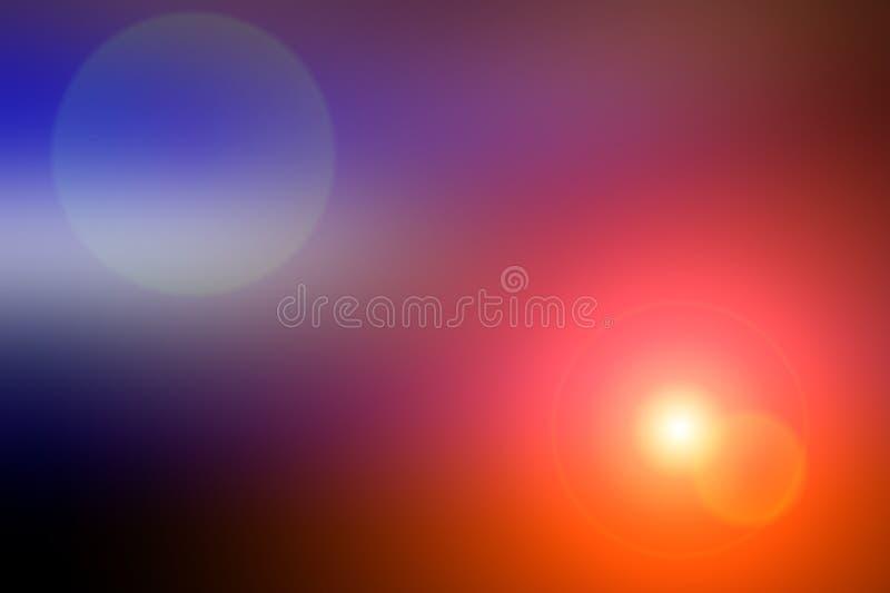 Fond brouillé abstrait et éclair léger de lumière Tache bleu-foncé et pourpre, orange illustration stock