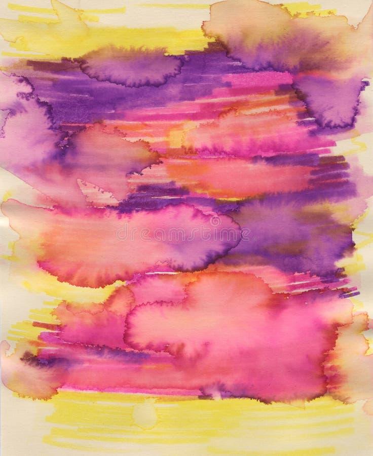 Fond brouillé d'aquarelle Endroits colorés Fond multicolore image stock