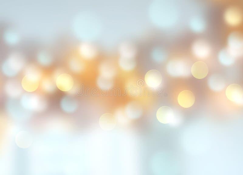 Fond brouillé d'or bleu de bokeh de Noël de vacances d'hiver illustration libre de droits