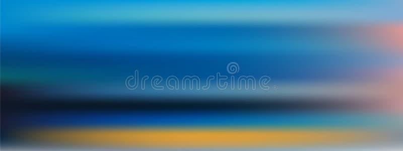 Fond brouillé d'une plage de nuit au coucher du soleil Vecteur image stock