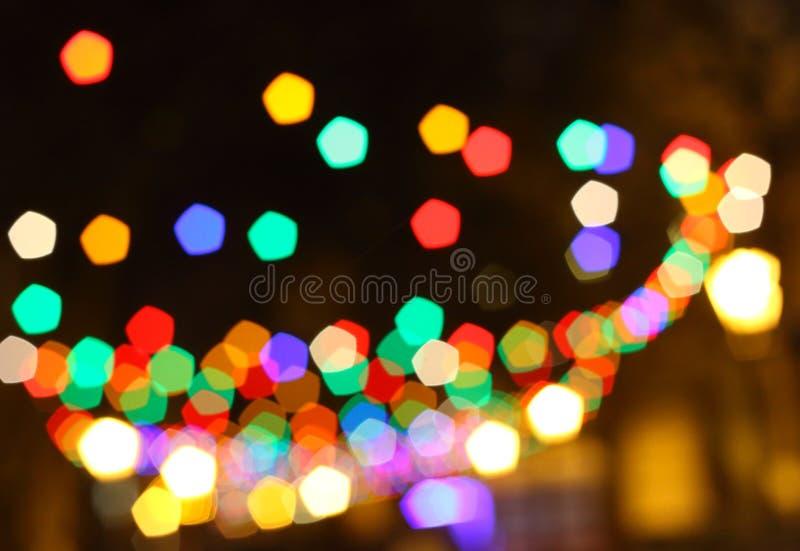 Fond brouillé de lumières de Noël image stock