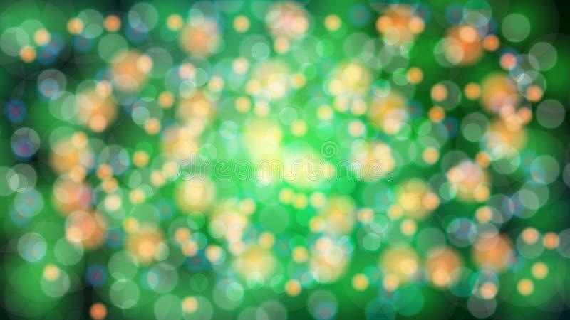 Fond brouillé par vert de résumé avec l'effet de bokeh Beau rougeoyer multicolore de fête lumineux magique brillant avec les tach illustration stock