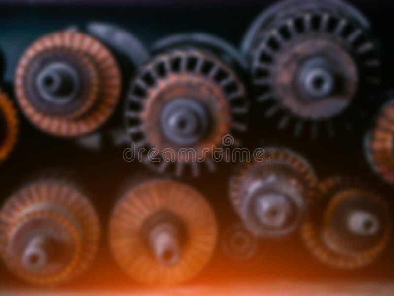 Fond brouillé technique Vitesses et enroulements de générateur photo stock