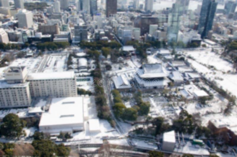 Fond brouillé Vue de ville de temple et de Tokyo de Zojo-JI image libre de droits