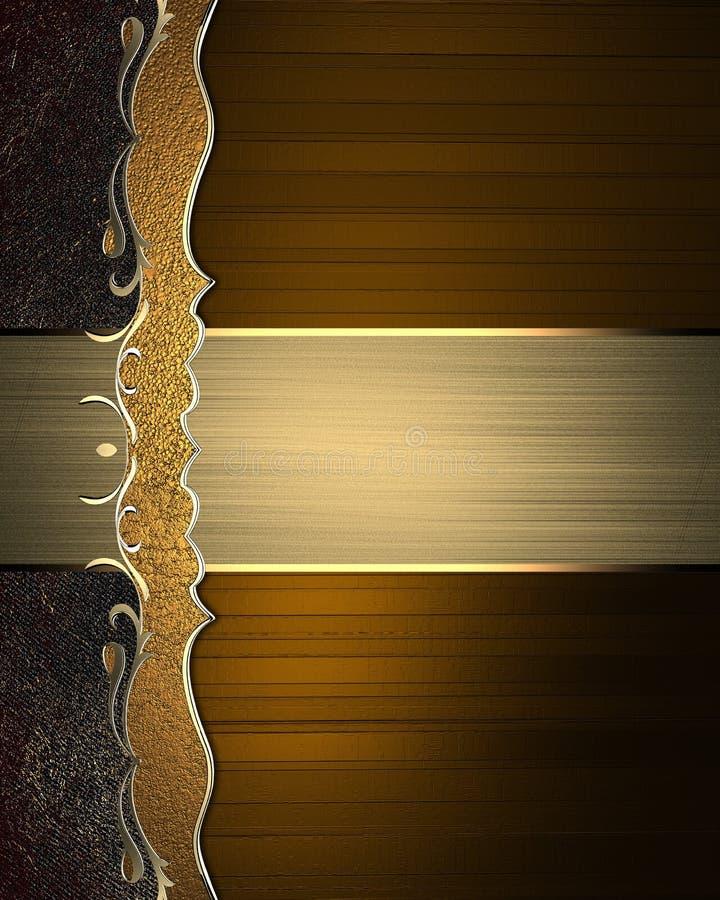 Fond brun abstrait avec une plaque signalétique de modèle et d'or illustration stock