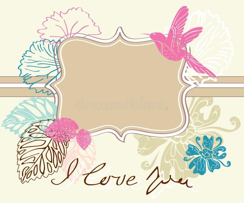 Fond brun clair de Valentine avec l'étiquette illustration libre de droits