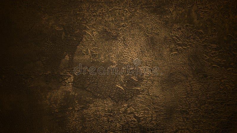 Fond brun-foncé ombragé Vieille surface criqu?e L'écaillement âgé a teint la texture en cuir photos stock