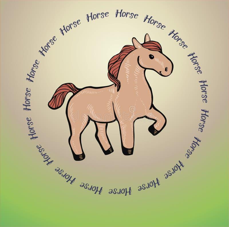Fond brun mignon de cheval illustration stock