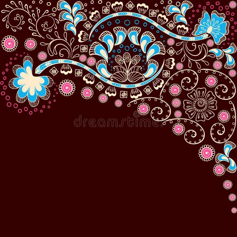 Fond brun simple inspiré par mehndi indien  illustration de vecteur
