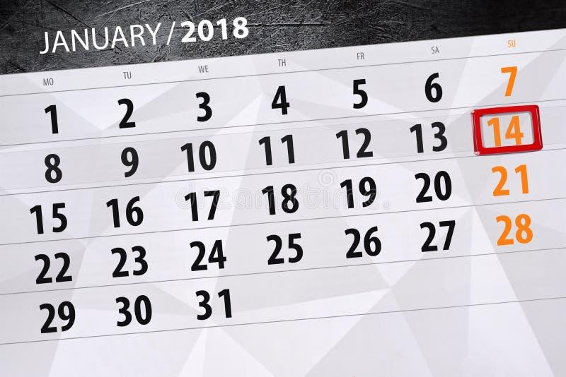 fond calendrier quotidien 14 janvier illustration de vecteur